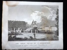 Clarke C1820 Antique Print. The Great Square of St. Petersburgh, Russia